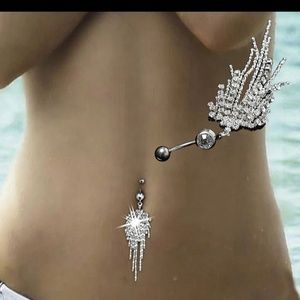 😎😍NEW! AAA CZ Waterfall Navel/Belly Ring😎😍